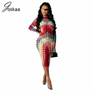 Joskaa fall new dot printed O neck Long Sleeve Sexy Sheath high waist street nightclub lounge wear women's long maxi Dress