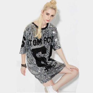 Womens Lady Sequined Bling Shiny Top Short Sleeve Female Letter sparkling loose T Shirt dress Stage costume Sequin Long T-shirt