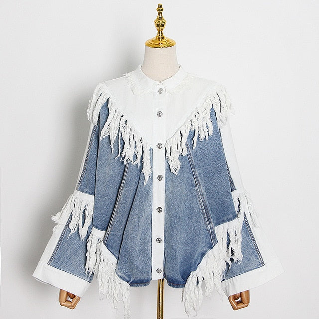 TWOTWINSTYLE Patchwork Tassel Denim Jacket For Women Lapel Long Sleeve Hit Color Streetwear Coats Female 2020 Autumn New Style