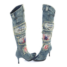 Load image into Gallery viewer, Rhinestone Denim Boot Woman Pointed Toe High Heel Knee High Boots Winter Warm Jean Botas Mujer Rubber Boots Women