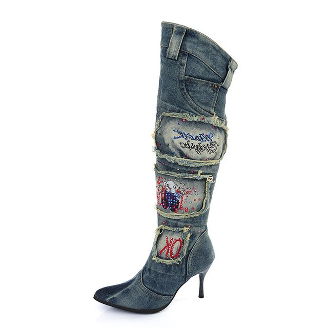Rhinestone Denim Boot Woman Pointed Toe High Heel Knee High Boots Winter Warm Jean Botas Mujer Rubber Boots Women