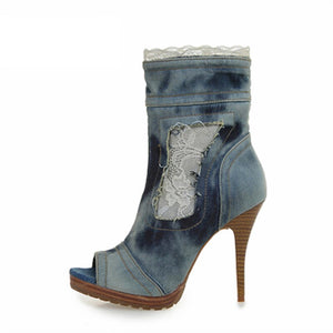 Women Denim Ankle Boots Peep Toe Jean Botas Mujer Lace Women Platform Pumps High Heel Shoes Woman
