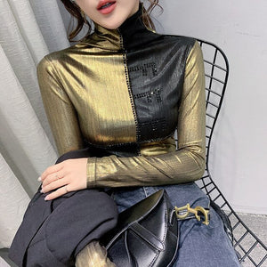 Fashion Clothes Sexy Patchwork Diamonds Shiny T-shirt 2020 New Spring Autumn Women Tops Long Sleeve Shirt Ropa Mujer Tees T9D704