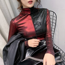 Load image into Gallery viewer, Fashion Clothes Sexy Patchwork Diamonds Shiny T-shirt 2020 New Spring Autumn Women Tops Long Sleeve Shirt Ropa Mujer Tees T9D704