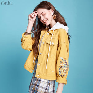 ARTKA 2020 Autumn New Women Denim Jacket Vintage Flower Embroidery Hooded Denim Coat Casual Loose Denim Jackets Women WN20001C