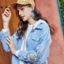 Load image into Gallery viewer, ARTKA 2020 Autumn New Women Denim Jacket Vintage Flower Embroidery Hooded Denim Coat Casual Loose Denim Jackets Women WN20001C