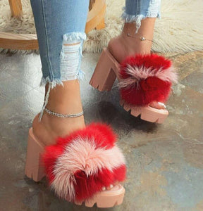 Large size Women's slippers 2020 Ladies New Mixed Colors Furry High heel Female shoes Sexy Outside Thick heel Women's Flip Flops