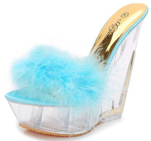 Thick Bottom Super High Heel 14cm Slipper High Transparent Special-Shaped Crystal Sandals Women Platforms Furry Wedge Heel Shoes