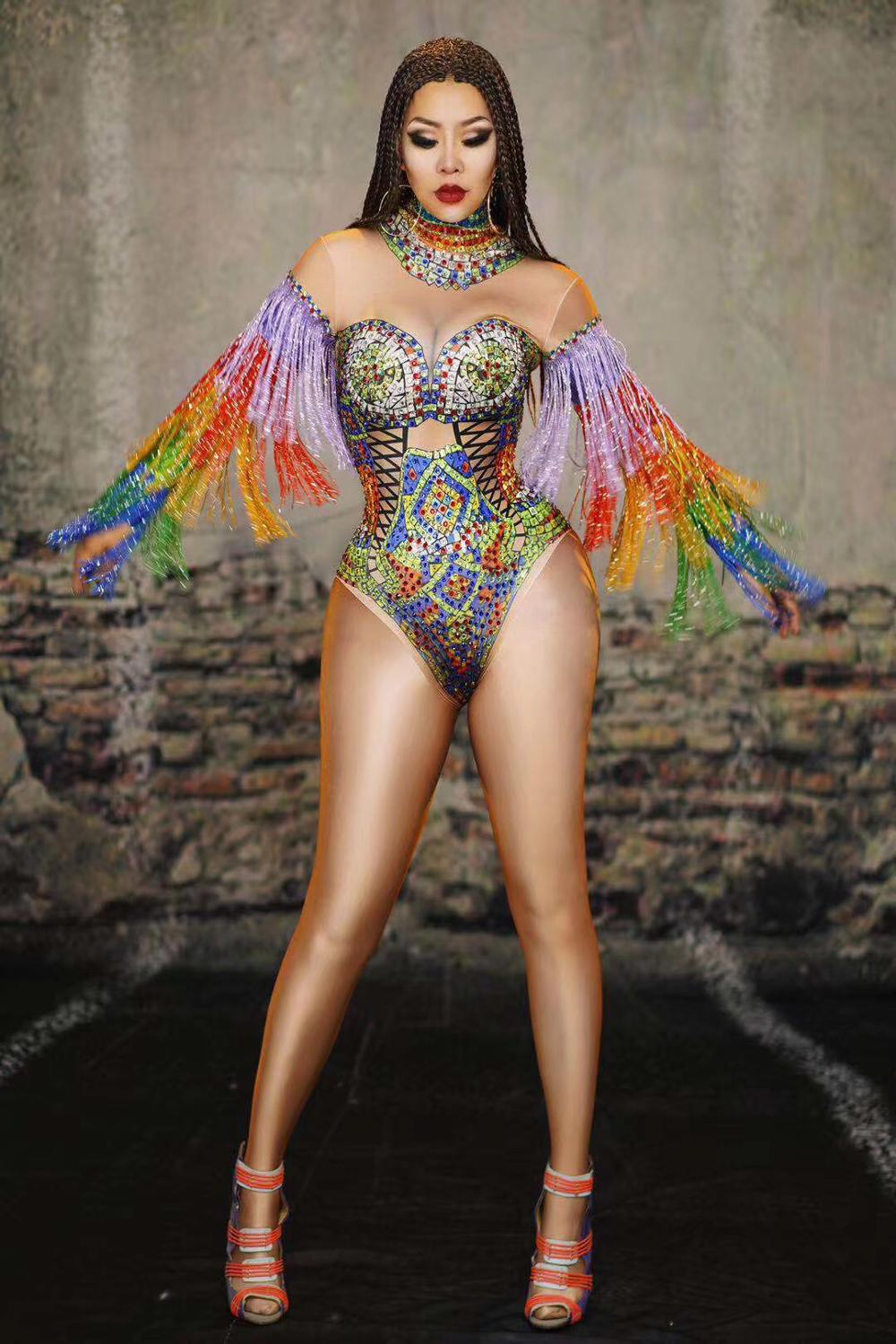 2020 Women New Colorful Rhinestones Fringes Leotard Costume Birthday Prom Celebrate Outfit Bar Evening Women Dancer Bodysuit