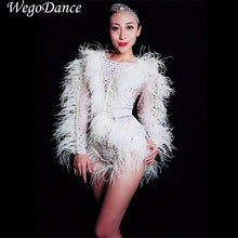 Load image into Gallery viewer, New Bright Silver Crystals Pearls Feather Fringes Bodysuit Women's Birthday Celebrate Nightclub DJ Female Singer Show Bodysuits