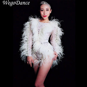 New Bright Silver Crystals Pearls Feather Fringes Bodysuit Women's Birthday Celebrate Nightclub DJ Female Singer Show Bodysuits