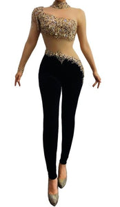 Gold Rhinestones Single Sleeve Transparent Jumpsuit Fashion Female Birthday Celebrate Prom Mesh Crystals Jumpsuit Singer Costume