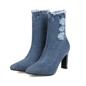 QUTAA 2021 Denim Fashion Women Ankle Boots Square High Heel Short Boots Autumn Winter Pointed Toe Slip on Women Shoes Size 34-43