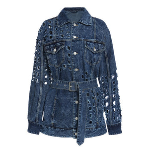 TWOTWINSTYLE Patchwork Hollow Out Denim Jacket For Women Lapel Long Sleeve High Waist With Sashes Casual Coat Female 2020 Fall