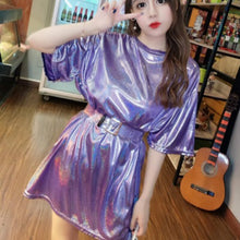 Load image into Gallery viewer, Harajuku Retro Bright Silk Tshirt Dress Woman Shiny Loose Short Sleeve Long Tees Sexy Club Dance Show O-Neck Laser Crop Tops