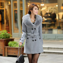 Load image into Gallery viewer, Womens Winter  Lapel Wool Coat Trench Jacket Fur Turn-down Collar Long Sleeve Overcoat Cardigan Coat Female