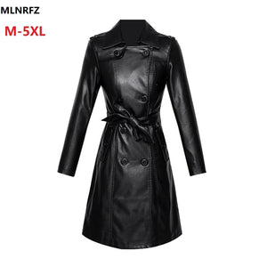 2020 Spring Autumn New Women Leather Trench Female Real Leather Coat High Street Sashes Slim Long Leather Clothing Plus Size 5XL
