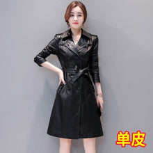 Load image into Gallery viewer, 2020 Spring Autumn New Women Leather Trench Female Real Leather Coat High Street Sashes Slim Long Leather Clothing Plus Size 5XL