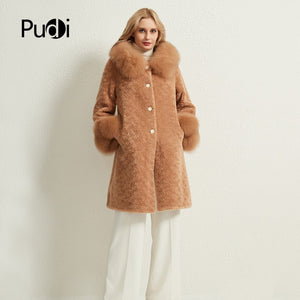 Pudi women long real sheep fur coat jacket female winter fox fur collar jackets parka trench H903-A