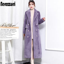 Load image into Gallery viewer, Nerazzurri Winter real fur coat women 2020 long sleeve peaked lapel Natural fur trench coats for women Long shearling lamb coat