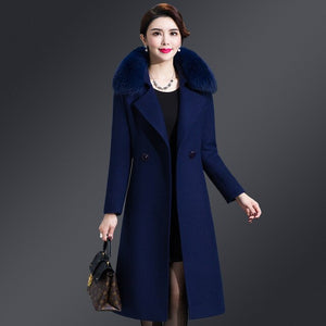 Hot Sale Women Long Lengthen Winter Coat Warm V Neck Thicken Solid Color Fur Collar Trench Slim Beautiful Windbreaker Plus Size