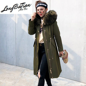 Liner Natural Rabbit Parka Clothes 2020 Autumn Winter Jacket Women Raccoon Fur Collar Long Trench Coat MY3588