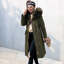 Load image into Gallery viewer, Liner Natural Rabbit Parka Clothes 2020 Autumn Winter Jacket Women Raccoon Fur Collar Long Trench Coat MY3588