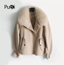 Load image into Gallery viewer, PUDI ZY320 Women real wool jacket lady fox fur lining collar coat Winter wool parka trench