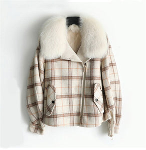 PUDI ZY320 Women real wool jacket lady fox fur lining collar coat Winter wool parka trench