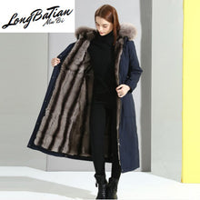Load image into Gallery viewer, Liner Natural Rabbit Parka 2020 Winter Jacket Women Fox Fur Collar Long Trench Coat Female Warm Parkas Plus Size MY
