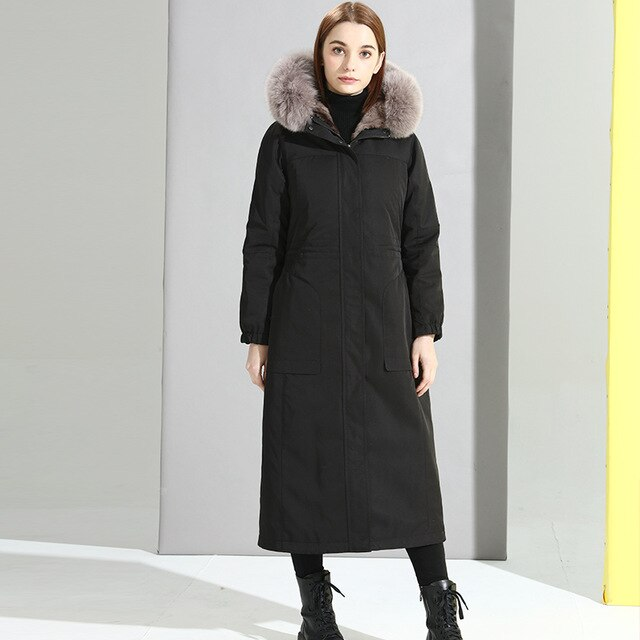 Liner Natural Rabbit Parka 2020 Winter Jacket Women Fox Fur Collar Long Trench Coat Female Warm Parkas Plus Size MY
