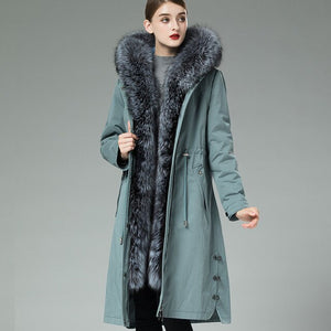 Liner Natural Rabbit Parka Real Coat 2020 Winter Jacket Women Large Fox Fur Collar Warm Long Trench Coats MY3835