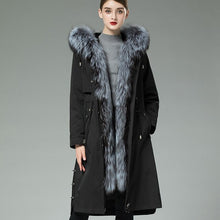 Load image into Gallery viewer, Liner Natural Rabbit Parka Real Coat 2020 Winter Jacket Women Large Fox Fur Collar Warm Long Trench Coats MY3835
