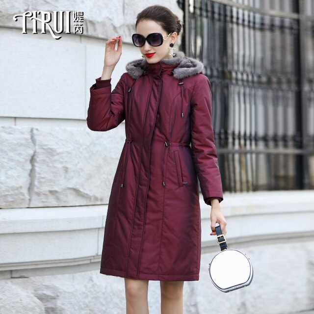 Liner Natural Rabbit Parka 2020 Winter Jacket Women Mink Fur Collar Long Trench Coat Female Warm Overcoat MY3711