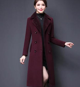 Double Breasted Wool Jacket Women's Suede Fur Winter Coat Thick Sheepskin Long Jacket Overcoat Female Solid Warm Trench Coats