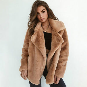 U-SWEAR High Quality 2020 Autumn Winter New Solid Color Fluffy Lapel Warm Jacket Temperament Coat Women Leisure Coat