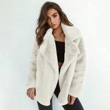 Load image into Gallery viewer, U-SWEAR High Quality 2020 Autumn Winter New Solid Color Fluffy Lapel Warm Jacket Temperament Coat Women Leisure Coat