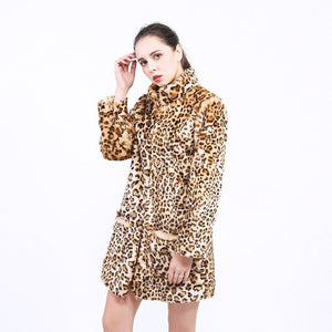 Sexy Winter Woman Leopard Coat Autumn Fashion Long Sleeves Club Party Leopard Print Fur Jacket Coats trench Womens Outerwear