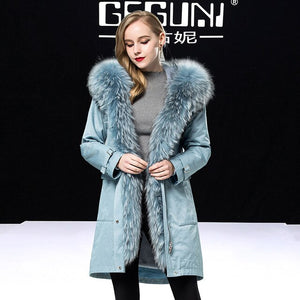 Real Coat 2020 Female Natural Rabbit Liner Parka Winter Jacket Women Raccoon Fur Collar Long Trench Coats MY3209