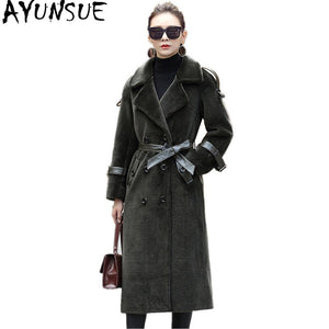 AYUNSUE Women Sheep Shearing Coats Thick Real Wool Fur Coat Women 2020 Warm Winter Jacket Long Trench Female With Belt F-706