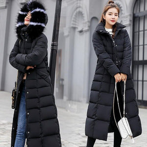 Korean Style Winter Women Overcoat Fur Collar Long Over-the-knee Thick Coat Slim Down Padded Daily Jacket New Autumn Warm Trench