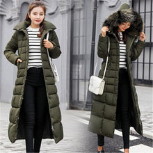 Load image into Gallery viewer, Korean Style Winter Women Overcoat Fur Collar Long Over-the-knee Thick Coat Slim Down Padded Daily Jacket New Autumn Warm Trench