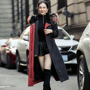 Coat 2020 Real Female Natural Rabbit Liner Parka Winter Jacket Women Raccoon Fur Collar Long Trench Coats MY3231
