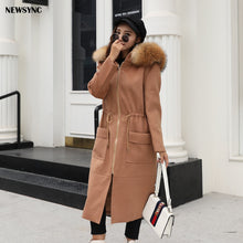 Load image into Gallery viewer, NEWSYNC New Coats Women 2020 Winter Autumn Long Ladies Woolen Overcoat Big size Standard Euro Size 6XL 7XL Trench with Fur