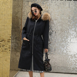 NEWSYNC New Coats Women 2020 Winter Autumn Long Ladies Woolen Overcoat Big size Standard Euro Size 6XL 7XL Trench with Fur