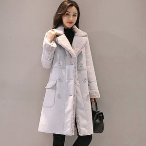 Women Suede Fur Winter Coat New Fashion Thick Faux Sheepskin Long Jacket Overcoat Female Solid Warm Trench Coat