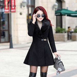 PinkyIsblack Autumn Winter Wool Coat Women Ruffles Wool Blend Coat and Jacket Removable Fur Collar Trench Jacket Mujer Invierno