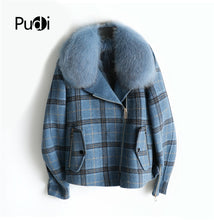 Load image into Gallery viewer, Pudi Women real wool fur coat jacket lady female fox fur liner natural fox fur collar Fall Winter coats jackets trench ZY320