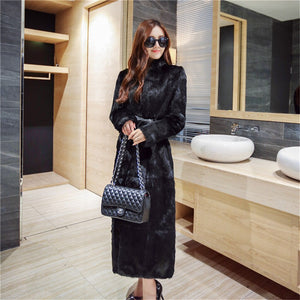 120 cm Full length Real Natural Black Rabbit fur coat Outwear parka Winter Trench leather belt fitting custom plus size 6Xl 5XL