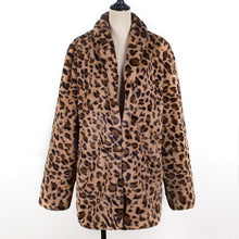 Load image into Gallery viewer, Womens Leopard Faux Fur Coat Winter Thicken Warm Long Sleeve Jacket Furry Slim Coat Outerwear Female Elegant Trench Overcoats A4